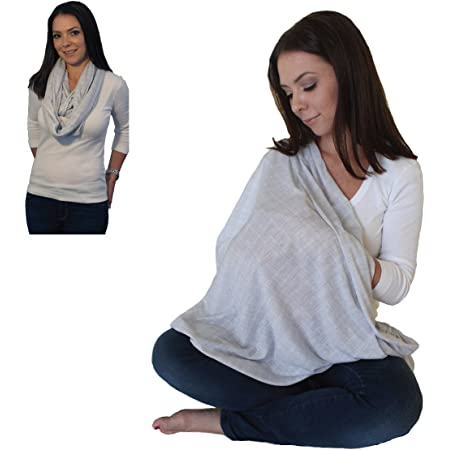 LK Baby Infinity Nursing Scarf Breastfeeding Cover Ultra Soft Premium Jersey Polyester- 100% AZO free and Safe for Baby (Light Grey Pattern)