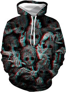 El Mal De Halloween Horror Oscuro Fantasma Adecuados para Adolescentes Y Adultos Imprimir Pullover Sudaderas con Capucha U...