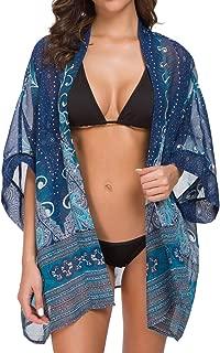 Women's Tops Loose Chiffon Kimono Cardigan Beach Swim Cover up Blouse