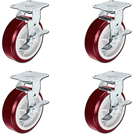 BestEquip 4 Pack 6 x 2 Inch Caster Wheels 2 Rigid and 2 Swivel Casters Polyurethane Heavy Duty Casters Iron Core Top Plate 1000LBS Capacity per Wheel