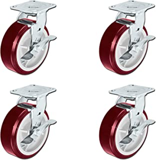 """CasterHQ - 6"""" X 2"""" Heavy Duty Polyurethane Wheel Swivel Casters with Top Locking Brakes - Non Marring - 900 lbs Per Caster - Set of 4 
