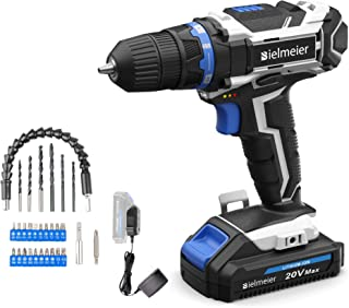 Bielmeier 20V MAX Lithium Ion Cordless Drill, Electric Drill Kit for Home Jobs, Power Drill Set with Variable Speed, LED a...