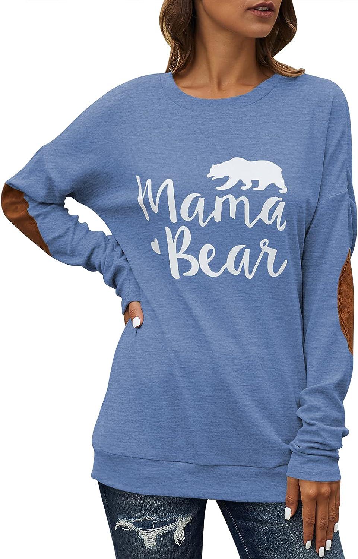 HAPCOPE Women's Mama Bear Shirts Casual Loose Long Sleeve Crewneck Elbow Patch Sweatshirt Tunic Tops