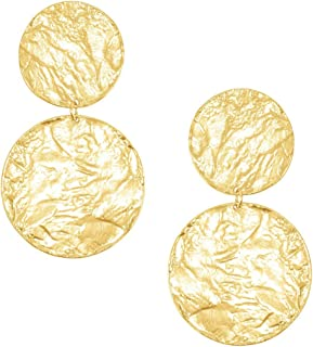 Aimee 24kt Gold Plated Earrings   Beautiful, Eye-Catching Textured Stand-Out Design Makes A Strong Statement   Post Back Enclosure, 2.75