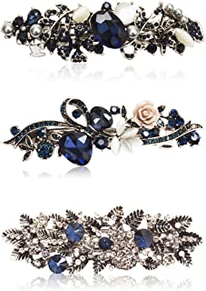 Kicosy Barrettes for Women 3 Pack Vintage Shining Rhinestone Hair Barrettes Metal Flower Butterfly French Clip Faux Crystal Hair clip Spring Hair Barrette,Black and Navy Blue