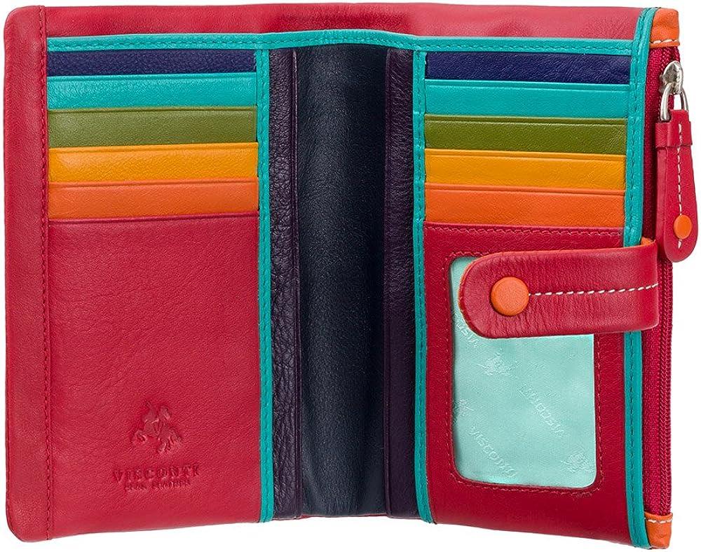 Visconti ®, portafoglio, porta carte di credito da donna in vera pelle, protezione rfid, rosso