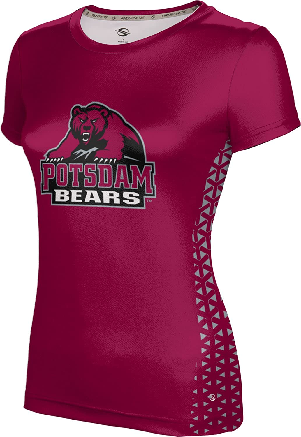 State University of New York at Potsdam Girls' Performance T-Shirt (Geometric) F9A85 Red and Gray