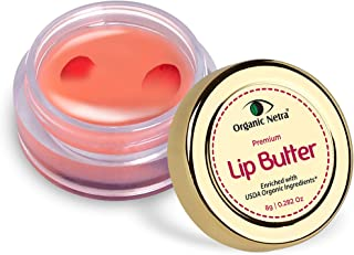Organic Netra® Premium Lip Butter with Rose Petals – 100% Chemical Free, Natural Lip Cream Made from Certified Organic She...