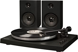 Crosley T150 Modern 2-Speed Bluetooth Turntable System with Variable Weighted Tone Arm and Stereo Speakers, Black