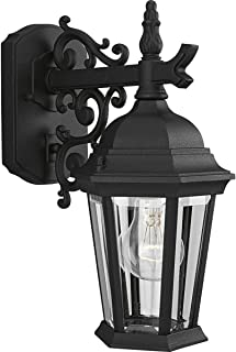 Progress Lighting P5682-31 Wall Lantern with Scroll Arm Combined with The Brilliant Clarity of Clear Beveled Glass, Textured Black