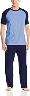 Men's Adult X-Temp Short Sleeve Cotton Raglan Shirt and Pants Pajamas Pjs Sleepwear Lounge Set