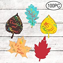 Thanksgiving Party Leaves Decorations Colorful Magic Color Scratch Fall Leaves For Kids Happy Fall Autumn Harvest Party Games Supplies Decorations-100 Pack