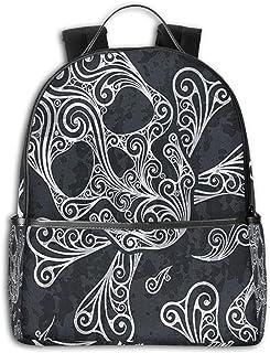 Mochila Tipo Casual Mochila Escolares Mochilas Escolar Estilo Impermeable para Viaje De Ordenador Portátil para Hombre Mujer Calavera Swirly