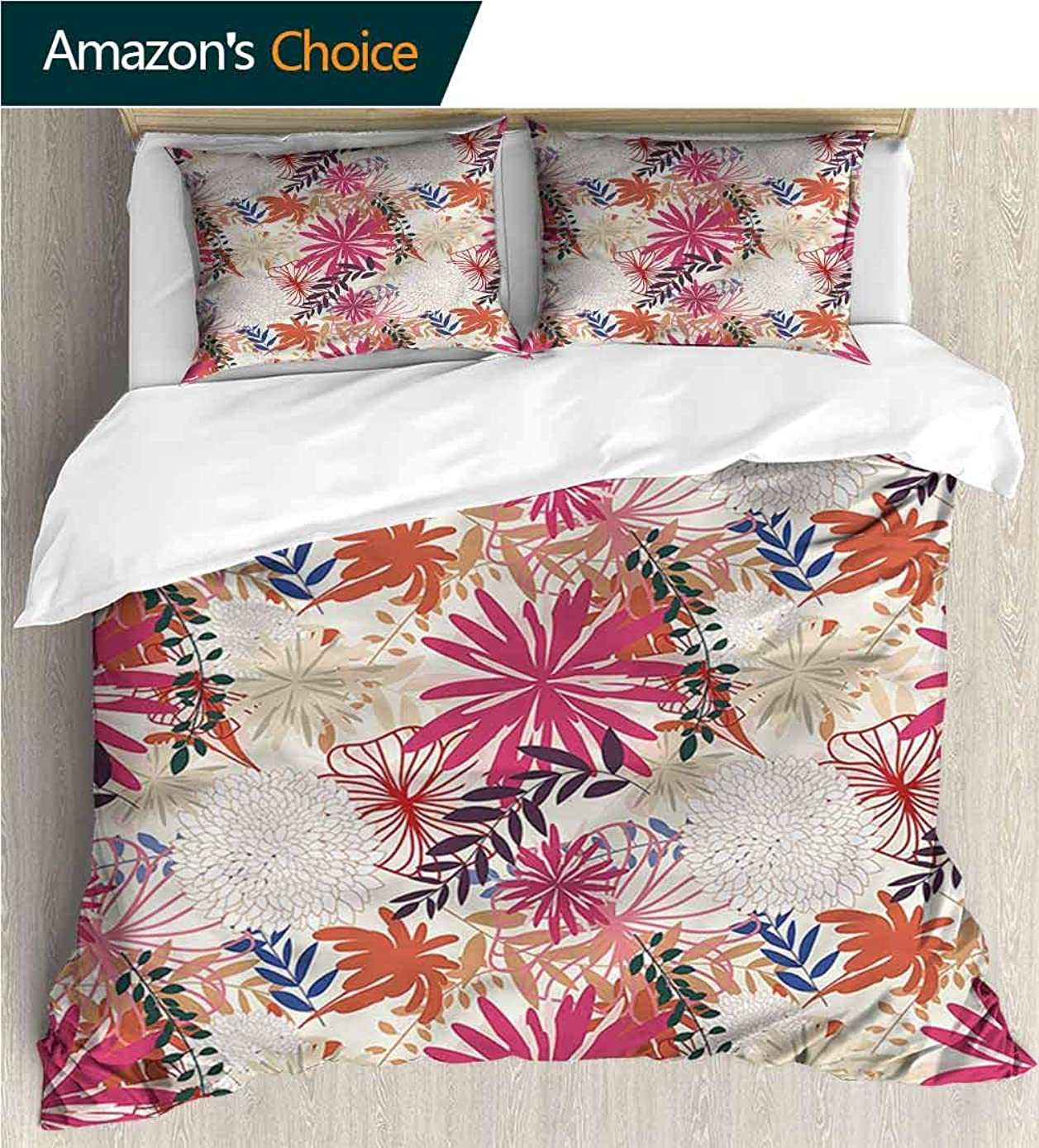 Home 3 Piece Print Quilt Set,Box Stitched,Soft,Breathable,Hypoallergenic,Fade Resistant Patterned Technique King Quilt Set-Floral Flourishing Vibrant Flowers (80