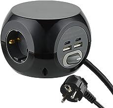 Electraline 62080 62078 Mini-kubus stekkerdoos 3-voudig met 4 17 W (2 type C PD compatibel met de nieuwste technologie + 2...