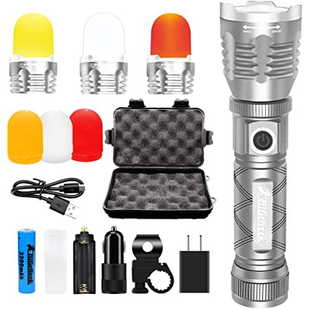 High Lumen Flashlight, EDC Bright Tactical Flashlight, Multi-Function Emergency Pocket Flashlight, Rechargeable Outdoor Camping Lantern,3 Color Cover 5 Modes Zoomable Waterproof Magnetic Flashlight