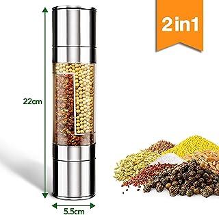 Molinillo de Pimienta y Sal, TBONEEY 2 en 1 Molino de Sal y