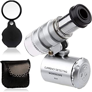 KINGMAS Mini 60x Microscope Magnifying with LED UV Light Pocket Jewelry Magnifier Jeweler Loupe with 10X Folding Pocket Magnifier