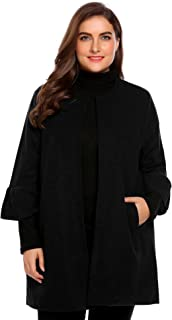 IN'VOLAND Plus Size Women Trumpet 3/4 Sleeve Outerwear Tops Winter Jacket Coat Casual Cardigan
