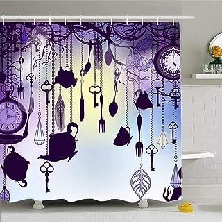 Ahawoso Shower Curtain for Bathroom 72x78 Purple Victorian Vintage Tea Retro Cups Clocks Dusk Alice Teapot Silhouette Calligraphic Clock Pocket Waterproof Polyester Fabric Bath Decor Set with Hooks