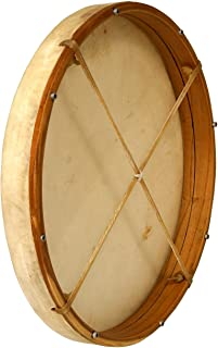 MID-EAST DOBANI TUNABLE GOATSKIN HEAD WOODEN FRAME DRUM WITH BEATER 18-BY-2-INCH