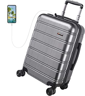 USB Charging Luggage 20in PC+ABS Carry on Luggage Travel Suitcase Built-in TSA Lock 8 Silent Spinner Wheels Side Handle, 3 Piece Set(No USB)