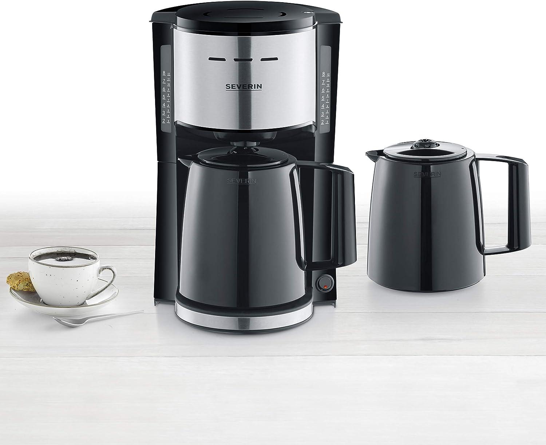 SEVERIN KA 9253 - Cafetera de filtro con 2 jarras térmicas, aprox. 1000 W, hasta 8 tazas, filtro giratorio 1 x 4 con cierre antigoteo, apagado automático, tapa de desagüe