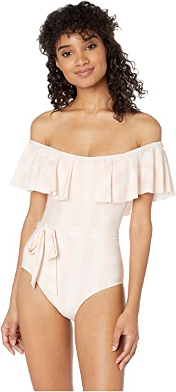 Long Lines Removeable Soft Cup Off the Shoulder One-Piece