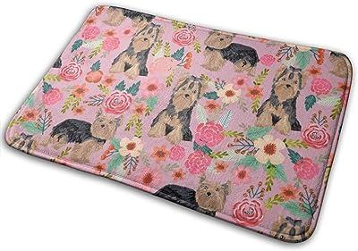 """Yorkie Florals Yorkshire Terrier Floral Cute Dogs_27095 Doormat Entrance Mat Floor Mat Rug Indoor/Outdoor/Front Door/Bathroom Mats Rubber Non Slip 23.6"""" X 15.8"""""""