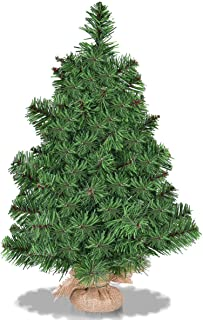 Goplus 2 Ft Christmas Tree Tabletop Artificial PVC Green Spruce Tree in Burlap Base