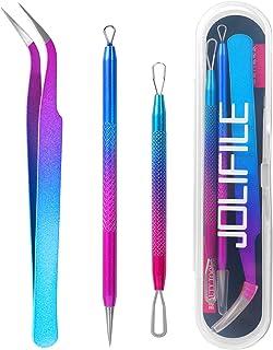 JOLIFILE Professional Blackhead Remover Tools - Pimple Extractor Kit Metal Pimple Popper Tool Pimple Set Easily Cure Pimpl...