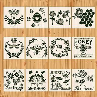 12 Pcs Bee Stencils Bee Theme Drawing Template Honey Honey Honeycomb Stencil Kit Reusable Bumblebee Painting Stencil Templ...