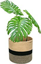 Magicfly Jute Rope Plant Basket, 12 X 12 Inch Cotton Rope Woven Basket for 11 Inch Flower Pot, Floor Indoor Planters, Modern Storage Organizer with Handles for Home Décor, Black and Beige