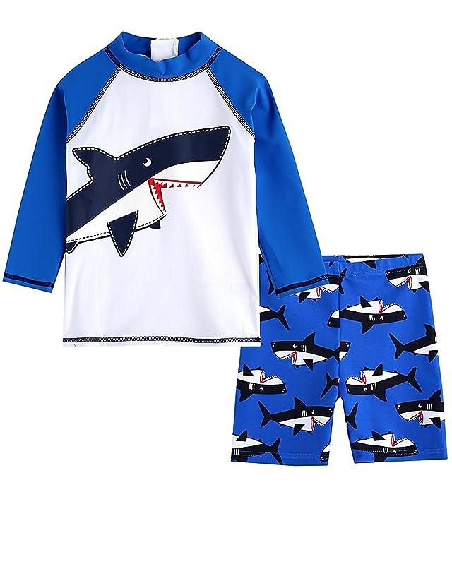 LOSORN ZPY Baby Toddler Boy Swimsuit Kid Rash Guard Swimwear With Swim Hat