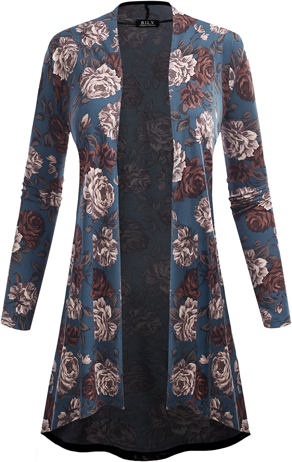 BH B.I.L.Y USA Women's Open Front HighLow Long Sleeve Floral Print Cardigan 61039 Teal Small