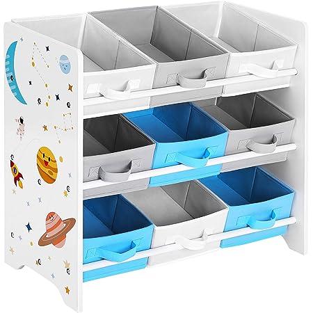 Multifuncional Blanco GKR41WT con Ruedas Caja de Juguetes M/óvil para Habitaci/ón de los Ni/ños y Sala de Juegos SONGMICS Estanter/ía de Juguetes con 3 Compartimentos Librer/ía Infantil