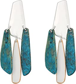Silver and Patina Chandelier Earrings