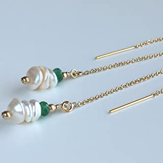 Keshi Cultured Pearl and Emerald Threader Earrings - 14k Gold Filled