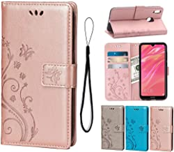 Wallet Case for Huawei Y7 2019/Y7 Pro 2019/Y7 Prime 2019,PU Leather Flip Cover Butterfly Flowers with Card Holders Magnetic Stand Case for Huawei Y7 2019/Y7 Pro 2019/Y7 Prime 2019-Rose Gold