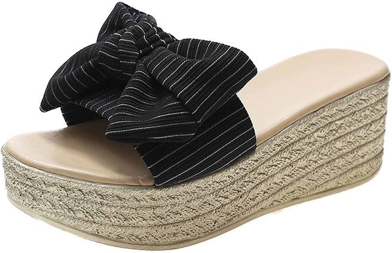 Platform Casual Fairy Bowknot Slide Sandals for Women Comfortable Ladies Slip on Espadrilles Wedge Mules Slides
