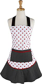 DII CBBB85478 Cotton Women Kitchen Pocket and Extra Long Ties, 24x30, Cute Ruffle Apron for Cooking, Baking, Perfect Mother's Day, Black & Red Polka Dot