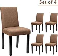 Furniwell Dining Chairs Fabric Urban Style Kitchen Padded Parson Side Chair Armless with Solid Wood Legs Set of 4 (Brown)