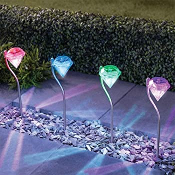 Multi-Color Light DSDecor 4 Pack LED Solar Lights Outdoor Color Changing Diamond Lights for Garden Lawn Yard Path Decoration