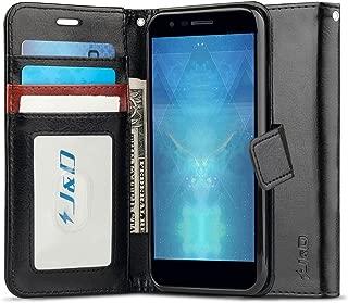 J&D Case Compatible for LG Phoenix Plus/LG K30 / LG K10 2018 Case, [Wallet Stand] [Slim Fit] Heavy Duty Protective Shock Resistant Flip Cover Wallet Case for LG Phoenix Plus Wallet Case - Black