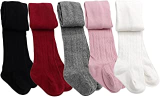 Taiycyxgan Baby Toddler Girls Cable Knit Tights 5 Pack Leggings Stocking Pants(1-4T)