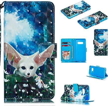 F�r Samsung Galaxy S10e H�lle Lader Tasche PU Lader H�lle Gemalt Muster Flip Brieftasche Kartenhalter Magnetschnalle St�nder Sto�fest Kratzfest Sto�stange Handyh�lle Elf Wolf