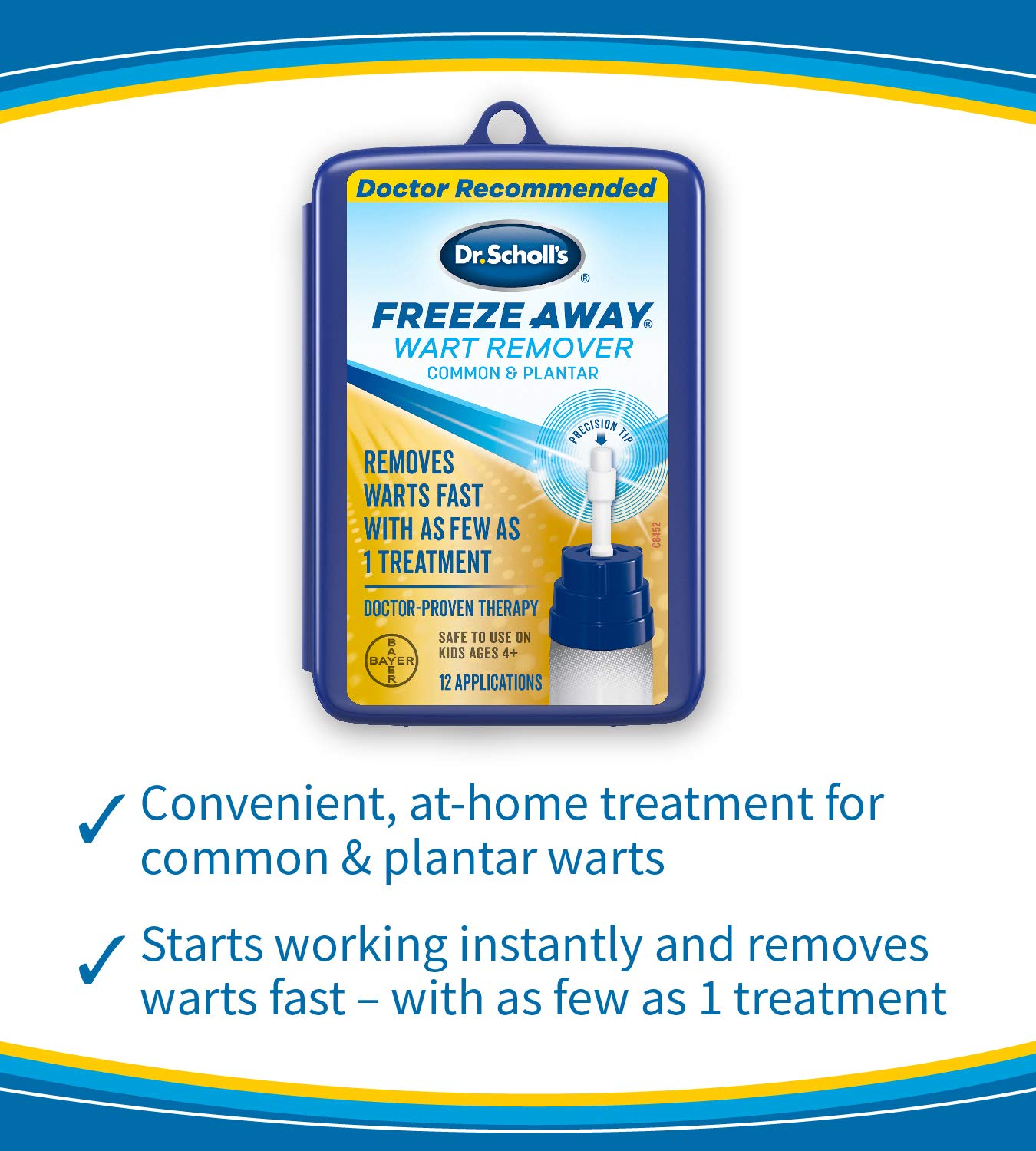 Dr. Scholl's FreezeAway Wart Remover, 12 Applications / Doctor-Proven Treatment to Rapidy Freeze and Remove Common and Plantar Warts