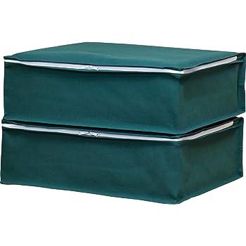 アストロ 収納ケース 衣類用 2枚組 グリーン 不織布 通気性抜群 三方開き 防塵 防湿 618-62