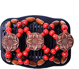 Yesbaby Vintage Women Tribal Magic Hair Comb Elastic Double Bead Comb Hair Clips for Girls (Color : Red)