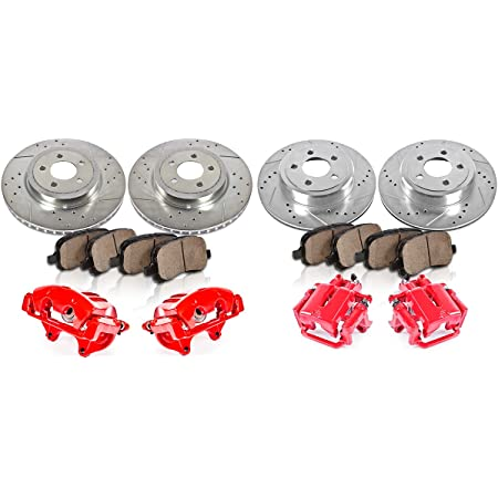 CCK12091 FRONT Remanufactured Calipers + 4 REAR Powder Coated 4 Low Dust Rotors Ceramic Pads Performance 8